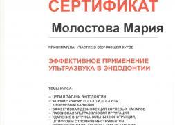 Сертификат врача Молостовой М.А.